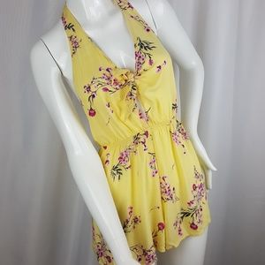 Kendall & Kylie Floral Yellow and Pink Romper